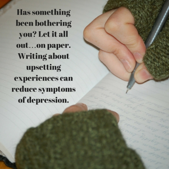 Has something been bothering you- Let it all out…on paper. Writing aboutupsetting experiences can reduce symptoms of depression.