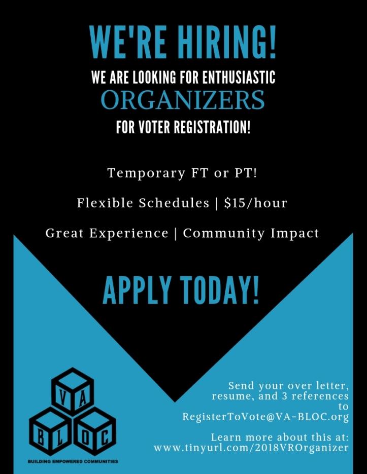 we're hiring vr organizers